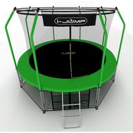 Большой уличный батут для взрослых - I-JUMP ELEGANT 14FT GREEN, пружинный, каркас с сеткой, лестница, фото 1