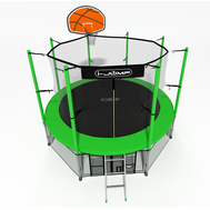 Пружинный уличный батут для дачи - i-JUMP BASKET 10ft GREEN, сетка, защитный мат, лестница, баскетбольный щит с кольцом, фото 1